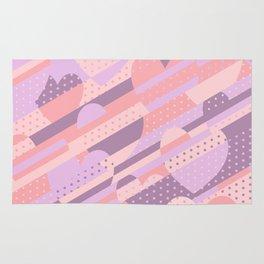 Sweet Heart Pattern (Pastel Coral Pink, Lavender) Rug