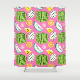 Unusual Japanese Fruits in Bright Pink Shower Curtain