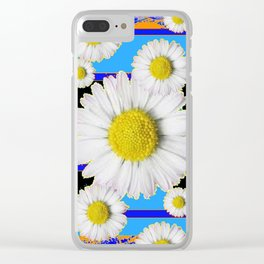 Blue Shasta Daisy's Black Color Art Clear iPhone Case