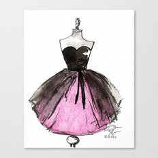 Pink and Black Sheer Dress Fashion Illustration Canvas Print