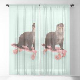 SKATE OTTER Sheer Curtain