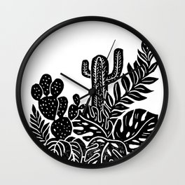 Botanical Pot Block Print Wall Clock