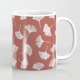 Ginkgo Biloba Pattern | Terracota Background Coffee Mug