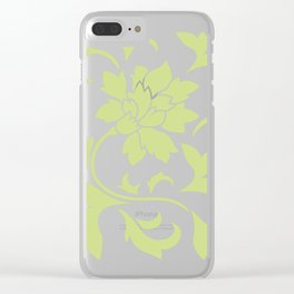 Oriental Flower - Daiquiri Green On White Background Clear iPhone Case