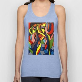 African Traditional Tribal Women Abstract Art Canvas Painting Series - 3 Unisex Tank Top