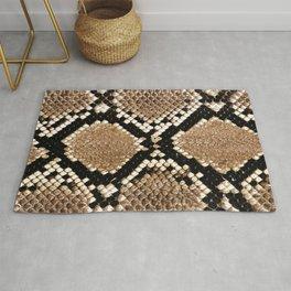Pastel brown black white snakeskin animal pattern Rug