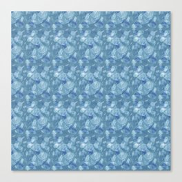 Blue Grey Abstract Floral Lace Pattern Canvas Print