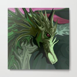 Watermelon Tourmaline Dragon Metal Print