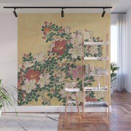 Vintage Flowers Azalea Japanese Painting Wall Mural