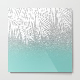 Modern tropical white palm tree silver glitter ombre on robbin egg blue turquoise Metal Print