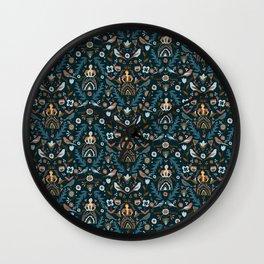 Teal and Tan Folk Milk Maid Pattern Wall Clock