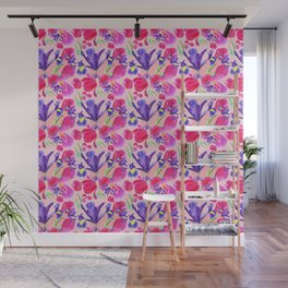 flowers irises and tulips pattern on a pink background Wall Mural