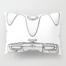Nintendo N64 Patent - N64 Controller Art - Black And White Pillow Sham
