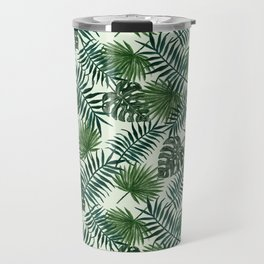Tropical ivory green monster leaves floral Travel Mug