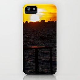 Man fishing at seaside in Izmir during sunset iPhone Case