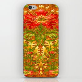 French Nouveau Red-Green Floral Caramel Color Designs iPhone Skin