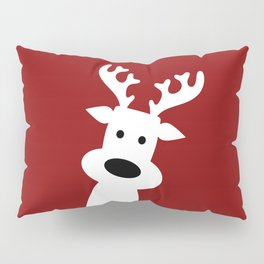 Reindeer on red background Pillow Sham