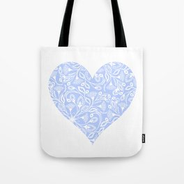 Floral Heart Design Blue and White Tote Bag