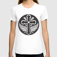 religious T-shirts featuring Black And White Cross Religious Symbol by ArtOnWear
