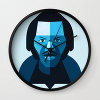 chuck Wall Clocks featuring Chuck Berry by rubenmontero