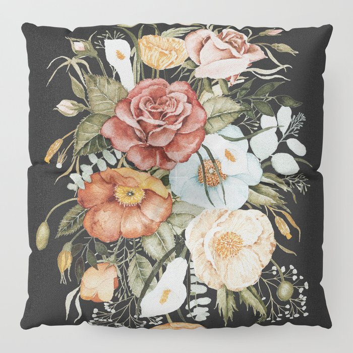 Roses and Poppies Bouquet on Charcoal Black Floor Pillow
