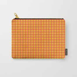 Pink On Yellow Grid Carry-All Pouch