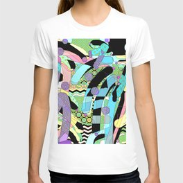 WATERCOLOR HODGE PODGE FIGURES IN LIMBO Design Illustration Pattern Print T-shirt