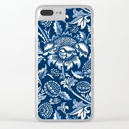 William Morris Sunflowers, Dark Blue and White Clear iPhone Case