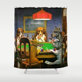 Dogs Playing Poker A Friend in Need Shower Curtain