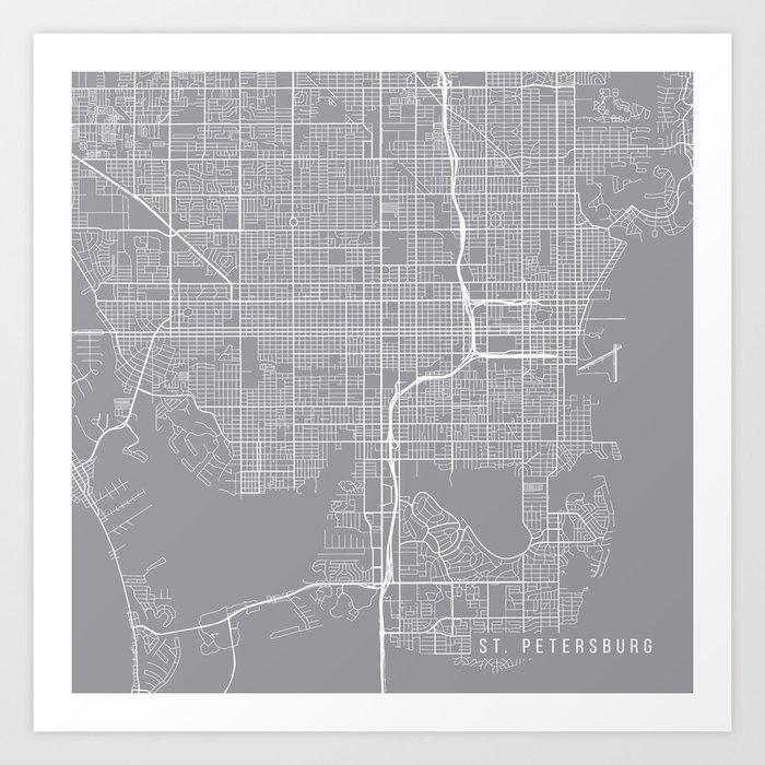 Print Map Of Florida.St Petersburg Map Florida Usa Pewter Art Print By