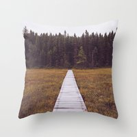 hiking Throw Pillows featuring Fall Hiking by Simon Laroche