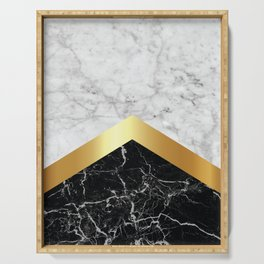 Arrows - White Marble, Gold & Black Granite #147 Serving Tray