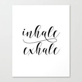 Inhale Exhale print, Black and white print, Gift For Her, Typography Print, Office Wall Art, Minimal Canvas Print