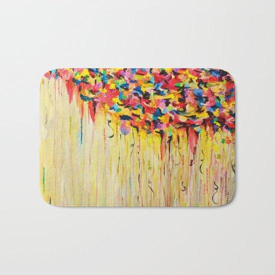 OPPOSITES LOVE Raining Sunshine - Bold Bright Sunny Colorful Rain Storm Abstract Acrylic Painting Bath Mat