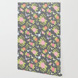 Garden of Fairies Pattern in Grey Wallpaper