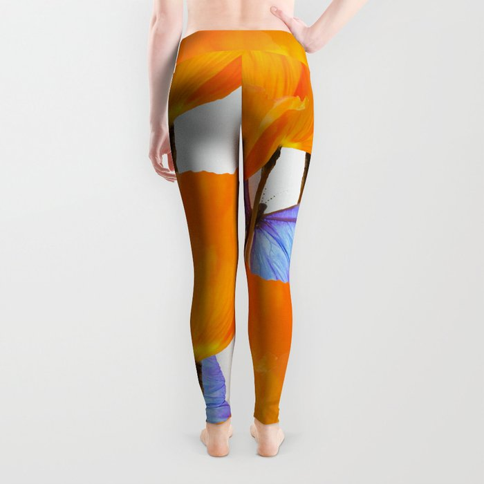 Poppies And Butterflies White Background #decor #society6 #buyart Leggings