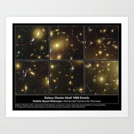Hubble Space Telescope - Hubble Looks Through Cosmic Zoom Lens (6 cropped images) Art Print