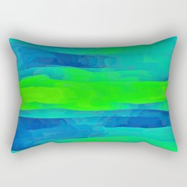Lime Green & Blue Stripes Abstract Rectangular Pillow