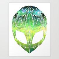Geo Space Alien - Green Art Print