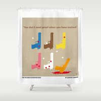 tarantino Shower Curtains featuring No069 My Reservoir Dogs minimal movie poster by Chungkong
