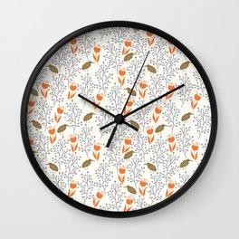 Vintage Orange and Brown Seamless Pattern Wall Clock