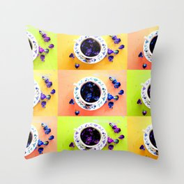 Tea Cups and Violets Throw Pillow