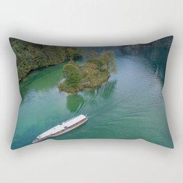 königssee waterfall alps bayern forrest drone aerial shot nature wanderlust boat mountains island Rectangular Pillow