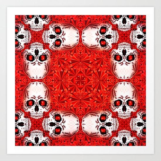 Crystals & Skulls pattern Art Print