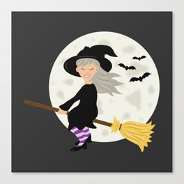 Cute Halloween Witch Girl Flying Cartoon Illustration Canvas Print