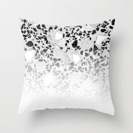 Concrete Terrazzo and Black and White Modern Monochrome Design Throw Pillow