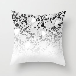 Concrete Terrazzo and Black and White Modern Monochrome Design Throw Pillow