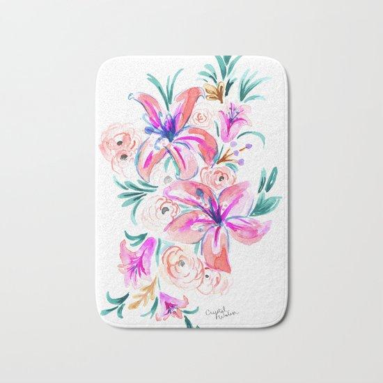 Summer Lily Floral Bath Mat