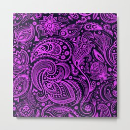 Hot pink and black paisley pattern Metal Print