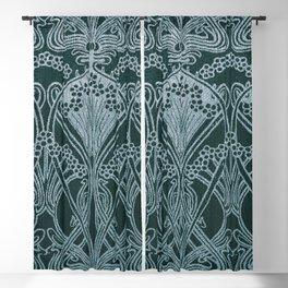 Art nouveau, silver gray blue,pattern, vintage,retro,eLegance,chic, Blackout Curtain